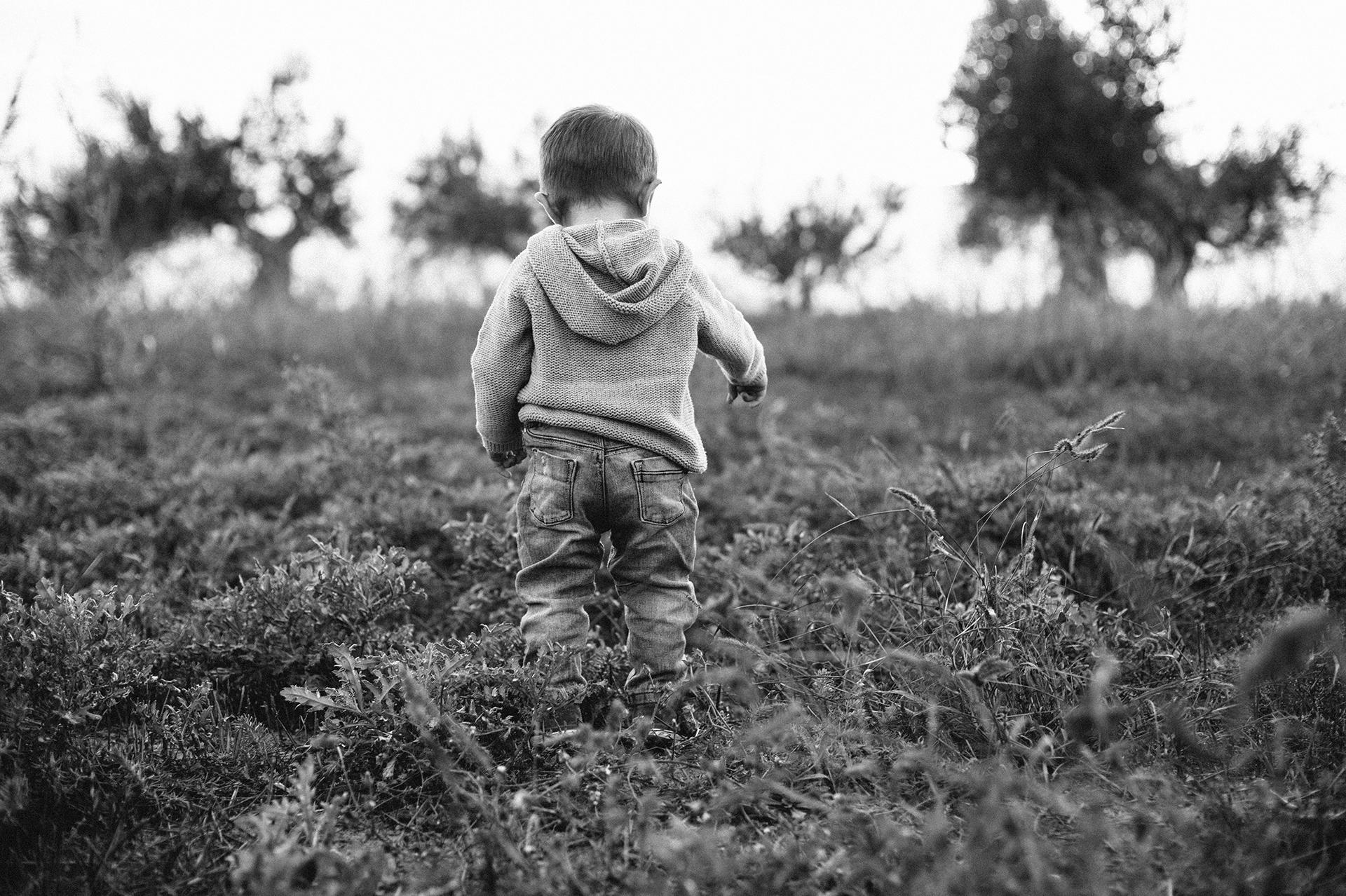 bambino di spalle cammina nel prato